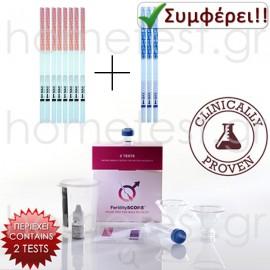 FertilitySCORE + 20 ovulation test strips + 5 pregnancy HomeTest test strips