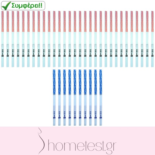 30 HomeTest ovulation and 10 pregnancy test strips
