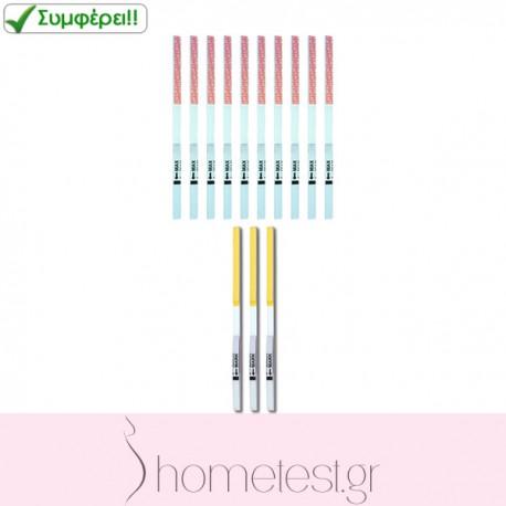 3 HomeTest FSH test strips + 10 HomeTest ovulation test strips