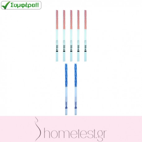5 HomeTest ovulation test strips + 2 HomeTest pregnancy test strips