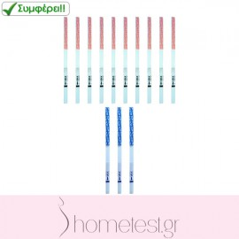 10 HomeTest ovulation test strips + 3 HomeTest pregnancy test strips