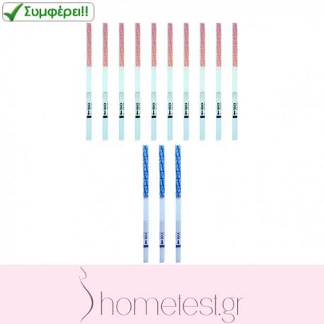 10 τεστ ωορρηξίας HomeTest σε ταινίες + 3 τεστ εγκυμοσύνης HomeTest σε ταινίες