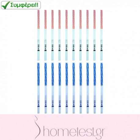 10 HomeTest ovulation test strips + 10 HomeTest pregnancy test strips