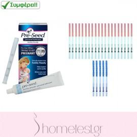 Κολπικό λιπαντικό Pre-Seed + 20 τεστ ωορρηξίας σε ταινίες + 5 τεστ εγκυμοσύνης σε ταινίες HomeTest