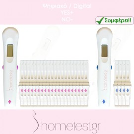 10 digital ovulation tests + 2 digital HomeTest pregnancy tests